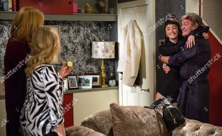 Ep 8117 Monday 9th April 2018 Bernice Blackstock, as played by Samantha Giles, and Nicola King, as played by Nicola Wheeler, are horrified to hear animal noises from upstairs. Rodney Blackstock, as played by Patrick Mower, comes down in a robe and introduces his girlfriend, Misty, as played by Hedydd Dylan.
