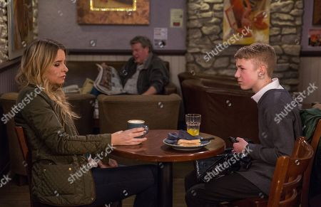 Ep 8136 Friday 27th April 2018 Noah Tate, as played by Jack Downham, reaps material rewards by playing Joe Tate, and Charity Dingle, as played by Emma Atkins, against each other