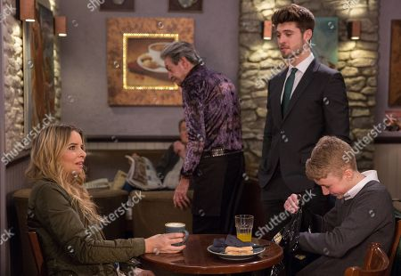 Ep 8136 Friday 27th April 2018 Noah Tate, as played by Jack Downham, reaps material rewards by playing Joe Tate, as played by Ned Porteous, and Charity Dingle, as played by Emma Atkins, against each other.