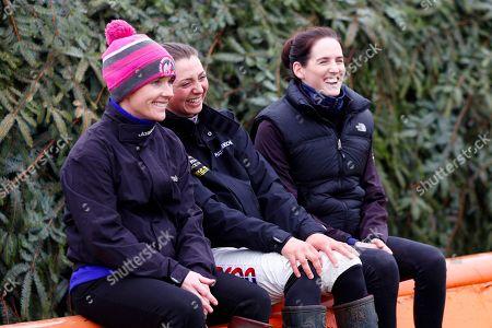 Katie Walsh, Bryony Frost and Rachael Blackmore, the three female jockeys riding in the Randox Health Grand National on Saturday