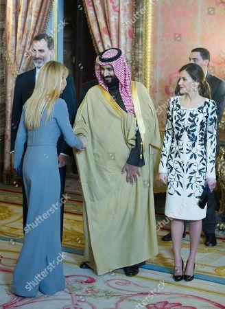 Esther Alcocer Koplowitz, King Felipe VI, Mohammed Bin King Salman bin Abdulaziz Al Saud and Queen Letizia.