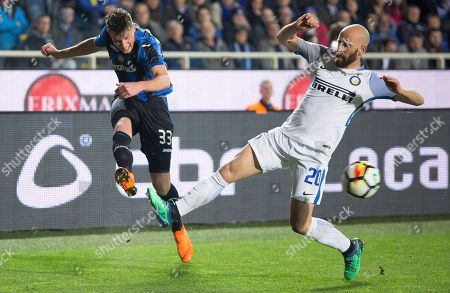 Stock Image of Inter's Valero Borja tries to block Atalanta's Hans Hateboer's cross