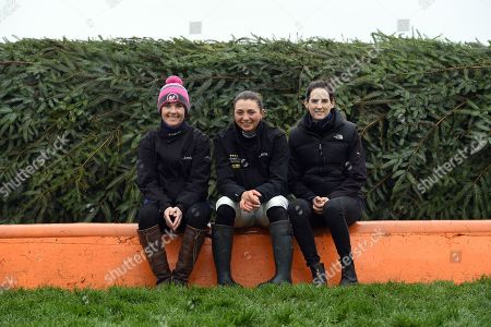 Katie Walsh, Bryony Frost and Rachael Blackmore, the three female jockeys riding in the Randox Health Grand National on Saturday, pose together at The Chair
