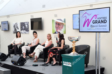 (From L - R ) BBC Presenter Sally Nugent, Sam Quek, Great Britain Olympic Gold Medallist and TV Presenter, Vicky Gosling OBE and Jo Pavey MBE speak at the Grand Women's Summit