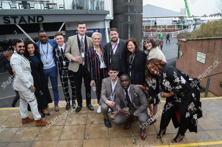 (From L-R) Leonie Elliott, of Call The Midwife, Actor Harrison Osterfield, Adam Anderson, Actress Wallis Day, Jason Manford with his wife Lucy Dyke, Model Sam Rollinson, TV Presenter Matt Richardson, Actor Jimmy Akugbola and Actress Chizzy Akudolu pose for a group photo together