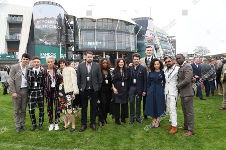 (From L-R) TV Presenter Matt Richardson, Actor Harrison Osterfield, Actress Wallis Day, Model Sam Rollinson, Jason Manford, Chizzy Akudolu of Holby City, Lucy Dyke, Adam Anderson, Leonie Elliott of Call The Midwife, and Actor Jimmy Akingbola pose together in the Parade Ring