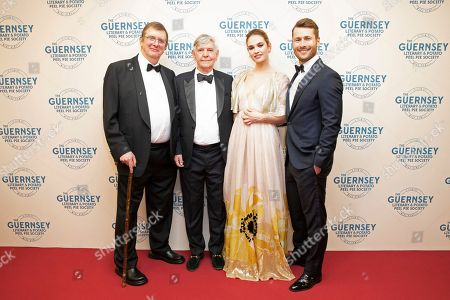 Stock Photo of Mike Newell, Tom Courtenay, Lily James and Glen Powell