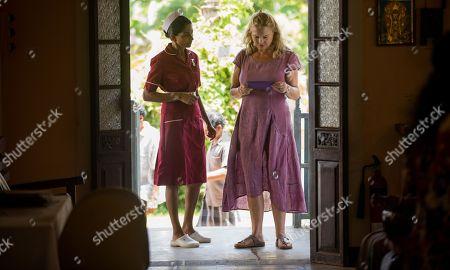 Stock Image of Nimmi Harasgama as Nurse Mari Rodriguez and Amanda Redman as Dr Lydia Fonseca