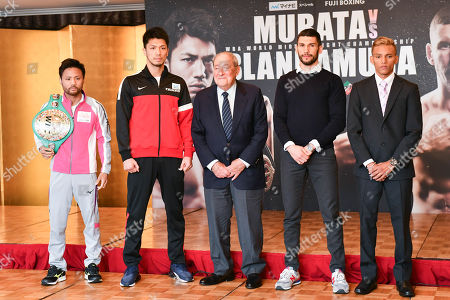 (L-R) Daigo Higa, Ryota Murata, Bob Arum, Emanuele Blandamura, Cristofer Rosales