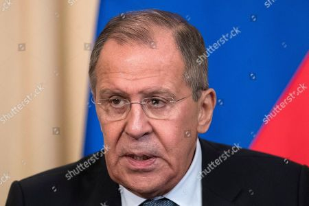 """Stock Image of Sergey Lavrov. Russian Foreign Minister Lavrov speaks to the media a joint news conference with Dutch Foreign Minister Halbe Zijlstra following their talks, in Moscow, Russia, . Lavrov said Friday Russian experts inspected the site of the alleged attack in the town of Douma and found no trace of chemical weapons. He said Moscow has """"irrefutable information that it was a fabrication"""