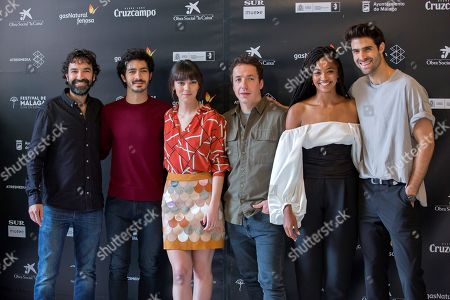 Spanish film director Mateo Gil (L) poses with Spanish actors and cast members Chino Darín (2L), Vicky Luengo (3L), Vito Sanz (3R), Berta Vazquez (2R) and Juan Betancourt pose for photographers during the presentation of the film 'Las leyes de la termodinamica' ('The Laws of Thermodynamics') at the 21st Malaga Spanish Film Festival (FMCE) in Malaga, southeastern Spain, 13 April 2018. The Malaga Film Festival will run from 13 to 22 April.