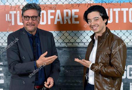 Italian actors Sergio Castellitto (L) and Guglielmo Poggi pose during the photocall for ''Il Tuttofare'' in Rome, Italy, 13 April 2018. The movie opens in Italian theaters on 19 April.