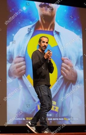 Spanish film director Javier Ruiz Caldera speaks during a tribute to Spanish cartoonist Juan Lopez Fernandez within the Barcelona International Comic Fair on the occassion of the 45th anniversary of Fernandez's comic character 'Superlopez', in Barcelona, Spain, 13 April 2018. The Barcelona International Comic Fair runs from 12 to 15 April.