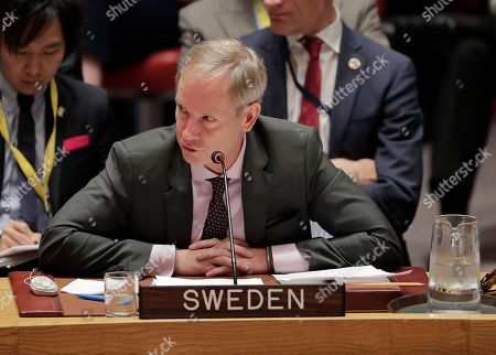 Olof Skoog, Swedish ambassador to the UN, speaks during a Security Council meeting, at United Nations headquarters