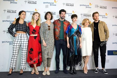 (L-R) Spanish actors and castmembers Hiba Abouk, Charlotte Vega, Belen Cuesta, Miguel Angel Munoz, Ursula Corbero, Carmen Machi and Pablo Rivero pose during the presentation of the movie 'Proyecto Tiempo' (lit. 'Proyect Time) at Malaga's Film Festival in Malaga, southern Spain, 12 April 2018. Malaga's Film Festival runs from 13 April until 22 April and presents the last productions in Spanish cinema industry.