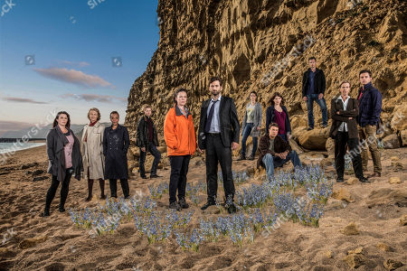 L-R: Eve Myles as Claire Ripley, Charlotte Rampling as Jocelyn Knight, Marianne Jean-Baptiste as Sharon Bishop, Arthur Darvill as Rev. Paul Coates, Olivia Colman as D.S. Ellie Miller, David Tennant as D.I Alec Hardy, Phoebe Waller-Bridge as Abby Thompson, Andrew Buchan as Mark Latimer, Jodie Whittaker as Beth Latimer, James D'Arcy as Lee Ashworth, Carolyn Pickles as Maggie Jonathan Bailey as Olly Stevens.
