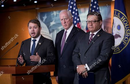 Mike Thompson, Ruben Gallego, Salud Carbajal. From left, Rep. Ruben Gallego D-Ariz., Rep. Mike Thompson, D-Calif., and Rep. Salud Carbajal, D-Calif., all military veterans, hold a news conference to criticize President Donald Trump for his threatened strikes in Syria, calling his social media rhetoric reckless and provocative, on Capitol Hill in Washington
