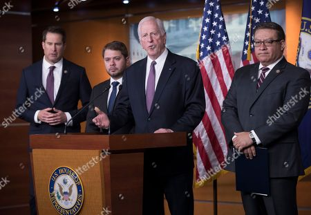 Mike Thompson, Ruben Gallego, Salud Carbajal, Seth Moulton. From left, Rep. Seth Moulton, D-Mass., Rep. Ruben Gallego D-Ariz., Rep. Mike Thompson, D-Calif., and Rep. Salud Carbajal, D-Calif., all military veterans, hold a news conference to criticize President Donald Trump for his threatened strikes in Syria, calling his social media rhetoric reckless and provocative, on Capitol Hill in Washington