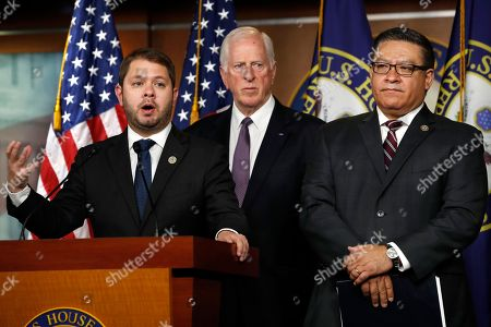 Ruben Gallego, Mike Thompson, Salud Carbajal. Rep. Ruben Gallego, D-Ariz., left, Rep. Mike Thompson, D-Calif., and Rep. Salud Carbajal, D-Calif., all military veterans, hold a news conference to criticize President Donald Trump for his threatened strikes in Syria, calling his social media rhetoric reckless and provocative, on Capitol Hill in Washington
