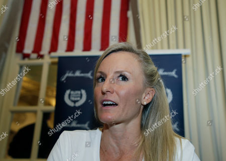 Stock Image of Elite U.S. runner Shalane Flanagan speaks to reporters, in Boston. The 122nd running of the Boston Marathon is scheduled for Monday