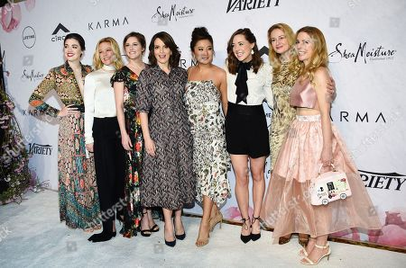 "Barrett Wilbert Weed, Kate Rockwell, Taylor Louderman, Tina Fey, Ashley Park, Erika Henningsen, Nell Benjamin, Kerry Butler. Honoree Tina Fey, center, is surrounded by the cast of Broadway's ""Mean Girls"", from left, Barrett Wilbert Weed, Kate Rockwell, Taylor Louderman, Ashley Park, Erika Henningsen, screenwriter Nell Benjamin and actress Kerry Butler at Variety's Power of Women: New York event at Cipriani Wall Street, in New York"