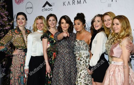 "Barrett Wilbert Weed, Kate Rockwell, Taylor Louderman, Tina Fey, Ashley Park, Erika Henningsen, Nell Benjamin, Kerry Butler. Honoree Tina Fey, center, surrounded by the cast of Broadway's ""Mean Girls"", from left, Barrett Wilbert Weed, Kate Rockwell, Taylor Louderman, Ashley Park, Erika Henningsen, screenwriter Nell Benjamin and actress Kerry Butler at Variety's Power of Women: New York event at Cipriani Wall Street, in New York"