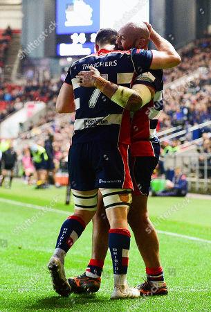 Soane Tongaâ??uiha of Bristol Rugby celebrates scoring a try with Sam Graham