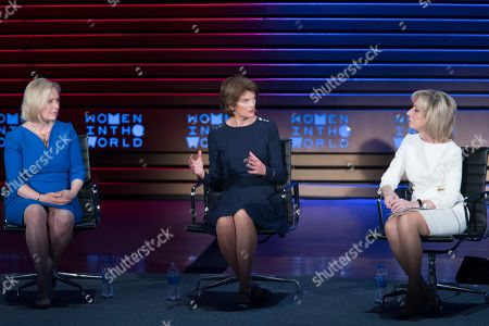 Lisa Murkowski, Kirsten Gillibrand, Andrea Mitchell. Andrea Mitchell, right, NBC News Chief, Foreign Affairs Correspondent moderates a talk with Sen. Lisa Murkowski, center, R-Alaska, and Sen. Kirsten Gillibrand, D-N.Y., speaks during the ninth annual Women in the World Summit, in New York