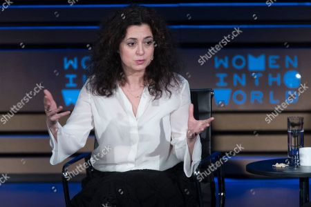 Author and journalist Ece Temelkuran speaks during the ninth annual Women in the World Summit, in New York