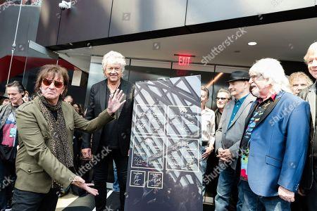 Richie Sambora, Graeme Edge. Richie Sambora, left and Graeme Edge, are seen at Hall of Fame Dedication at Rock & Roll Hall of Fame, in Cleveland, Ohio