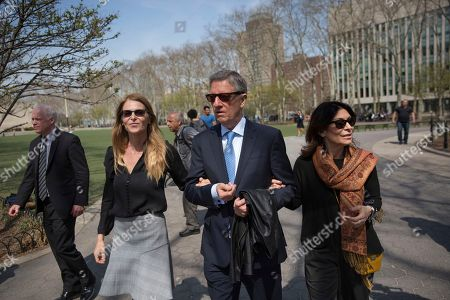 Actress Catherine Oxenberg, left, departs with Stanley Zareff and Toni Natalie, who is Keith Raniere's ex-girlfriend, following the arraignment of NXIVM leader Raniere in federal court, in New York. Oxenberg's daughter India has been named as a co-conspirator in a criminal complaint against Raniere