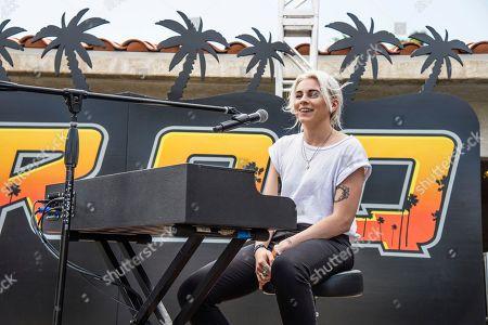 Lyndsey Gunnulfsen of PVRIS performs at the KROQ Coachella House, in Indio, Calif