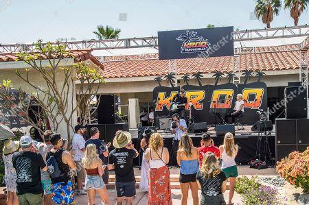 Alex Babinski, Lyndsey Gunnulfsen. Alex Babinski, left, and Lyndsey Gunnulfsen of PVRIS perform at the KROQ Coachella House, in Indio, Calif