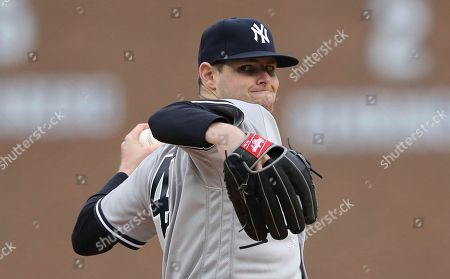 New York Yankees starting pitcher Jordan Montgomery throws during the first inning of a baseball game against the Detroit Tigers, in Detroit