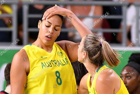 Elizabeth Cambage (left) of Australia is seen reacting after be sent off for a technical foul during the Women's Basketball gold medal game between Australia and England on day ten of competition of the XXI Commonwealth Games, at Gold Coast Convention and Exhibition Centre on the Gold Coast, Australia, Saturday, April 14, 2018.