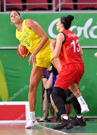 Elizabeth Cambage (left) of Australia takes on Azania Stewart (right) of England during the Women's Basketball gold medal game between Australia and England on day ten of competition of the XXI Commonwealth Games, at Gold Coast Convention and Exhibition Centre on the Gold Coast, Australia, Saturday, April 14, 2018.