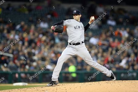 New York Yankees starting pitcher Jordan Montgomery throws during the third inning of a baseball game against the Detroit Tigers, in Detroit