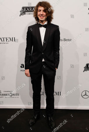 Stock Image of Lucas Jagger, son of pop star Mick Jagger, poses on the red carpet of The Foundation for AIDS Research (amfAR) event in Sao Paulo, Brazil