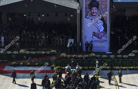 The coffin of Winnie Madikizela-Mandela is carried into Orlando stadium for the official state funeral in Soweto, Johannesburg, South Africa 14 April 2018. Winnie Mandela, former wife of Nelson Madela and anti-apartheid activist, passed away in a Johannesburg hospital on 02 April 2018 at age 81.