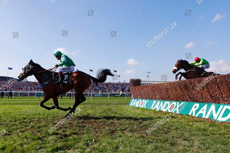 Thomas Patrick trained by Tom Lacey and ridden by Richard Johnson followed by On Tour trained by Evan Williams and ridden by Adam Wedge on the way to winning the 3.40 Betway Handicap Chase