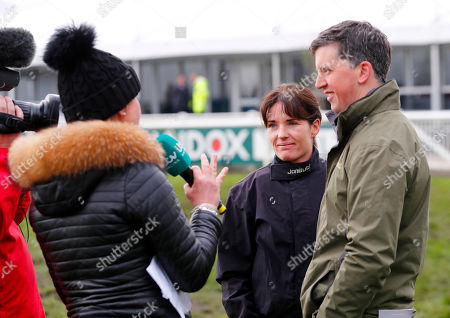 Katie Walsh and Ross O'Sullivan being interviewed on the morning of Grand National Day