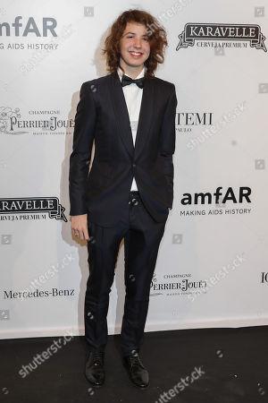 Lucas Jagger son of British singer Mick Jagger and Brazilian model Luciana Gimenez attend the amfAR gala in Sao Paulo, Brazil, 13 April 2018.
