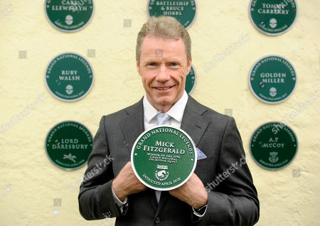 Stock Picture of Mick Fitzgerald with his plaque celebrates his appointment as a Grand National Legend
