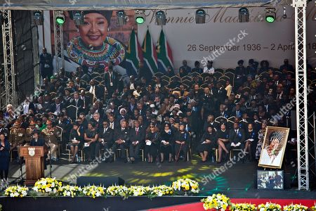 Family and officials gather at Soweto's Orlando stadium for the funeral service of anti-apartheid icon Winnie Madikizela-Mandela in Soweto, South Africa, . Madikizela-Mandela died April 2, 2018, at the age of 81
