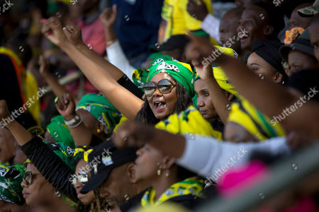 ANC supporters celebrate the legacy of anti-apartheid icon Winnie Madikizela-Mandela during her funeral ceremony at Soweto's Orlando stadium . Mandela died April 2, 2018, at the age of 81
