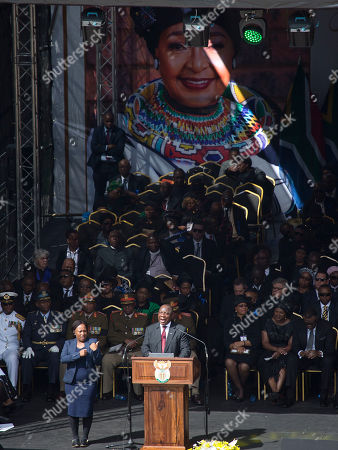 South African President Cyril Ramaphosa delivers his address celebrating the legacy of anti-apartheid icon Winnie Madikizela-Mandela during her funeral ceremony at Soweto's Orlando stadium . Mandela died April 2, 2018, at the age of 81