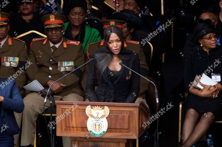 British model Naomi Campbell pays tribute to anti-apartheid icon Winnie Madikizela-Mandela during her funeral ceremony at Soweto's Orlando stadium . Madikizela-Mandela died April 2, 2018, at the age of 81