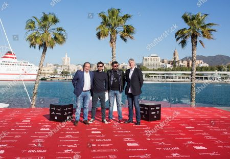 Spanish director Carlos Fernandez de Vigo (2R), poses with Spanish actor and cast member Raul Arevalo (2L) and producers Angel de la Cruz (R) and Jordi Mendieta during the presentation of his film 'Memorias de un hombre en pijama' (lit: Memories of a man in a jumpsuit' at the 21st edition of Malaga Spanish Film Festival, in Malaga, southeastern Spain, 14 April 2018. The film competes in the official section of the festival, which runs from 13 to 22 April.