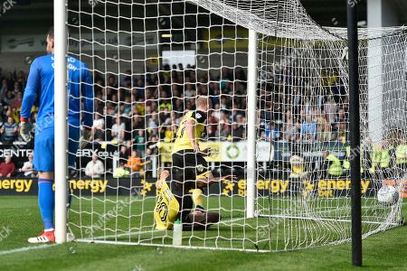 Burton Albion striker Liam Boyce (27) scores a goal to make the score 1-0 during the EFL Sky Bet Championship match between Burton Albion and Derby County at the Pirelli Stadium, Burton upon Trent. Picture by Richard Holmes