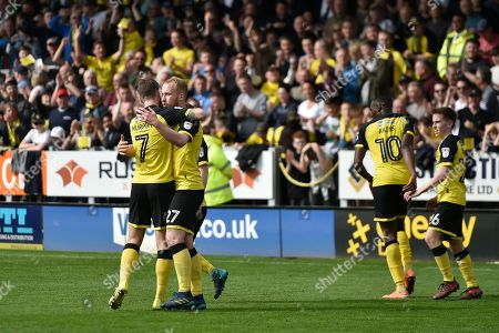 Burton Albion striker Liam Boyce (27) celebrates scoring a goal, making the score 1-0, during the EFL Sky Bet Championship match between Burton Albion and Derby County at the Pirelli Stadium, Burton upon Trent. Picture by Richard Holmes